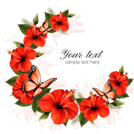 orange roses: Holiday background with beauty flowers and butterflies. Vector.