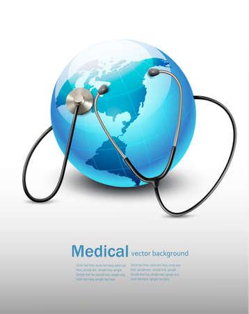 Stethoscope against a globe. Vector Illustration