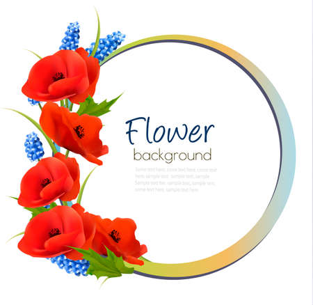 Holiday background with red flowers. Vector. Vectores