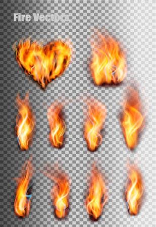 Fire flames set. Vector.