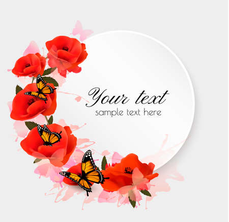 Holiday background with red flowers. Vector. Stock Illustratie