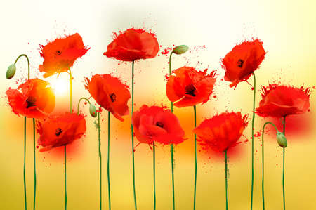 papaver: Nature background with red beauty poppies. Vector.