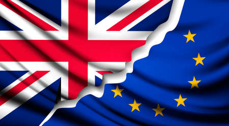 Due bandiere strappate - EU e UK. concetto Brexit. Vettore. Archivio Fotografico - 60692124