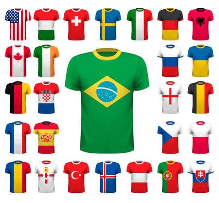 Collection of various soccer jerseys. National shirt design. Vector illustration Illustration