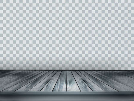 Gray scale background with wooden floor and a transparent back wall. Vector. Vettoriali
