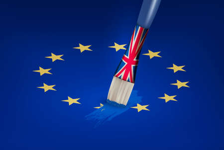 Brexit concept. UK brush painting over a EU star. Vector.