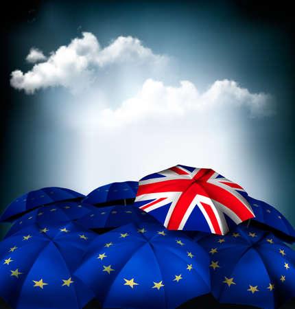 Brexit concept. Union jack umbrella between EU umbrellas. Vector