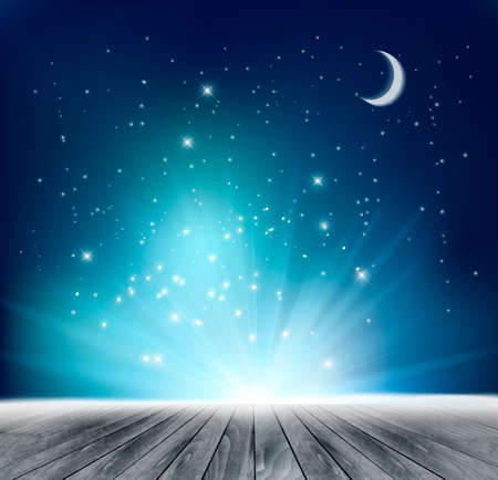 magical: Beautiful magical night background. Vector. Illustration