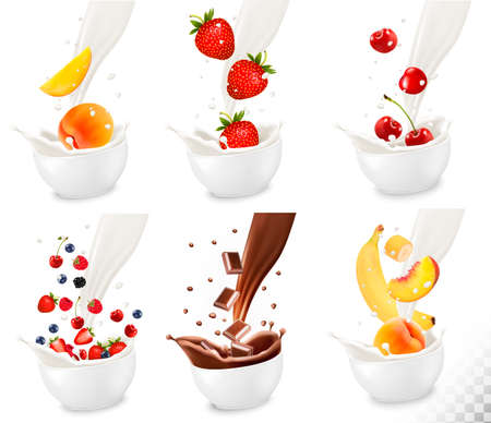 Chocolate and colorful fresh fruit falling into the milky splash on transparent background.. Vector illustration Illustration