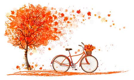 Autunno sfondo con un albero e una bicicletta. Vettore