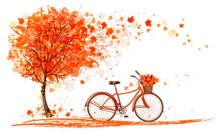 Autumn background with a tree and a bicycle. Vector