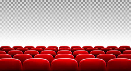 Rows of red cinema or theater seats in front of transparent background. Vector