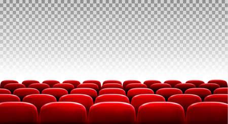 Rijen rode bioscoop of theaterzitjes voor transparante achtergrond. Vector