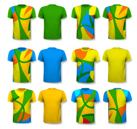 Colorful abstract male t-shirts. Design template. Vector. Illustration