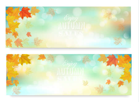 autumn color: Two abstract autumn banners with color leaves.Vector Illustration