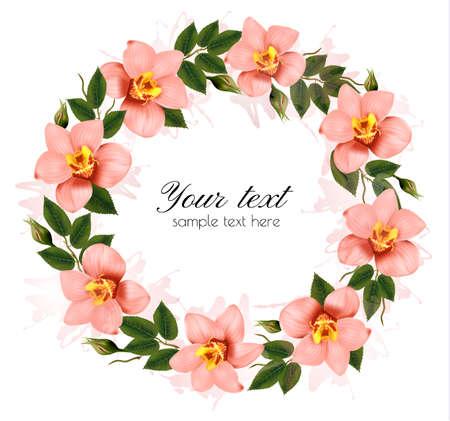 Guirnalda de orquídeas rosadas hermosas. Vector.