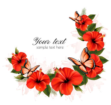 dozen: Holiday background with red beauty flowers and butterflies. Vector