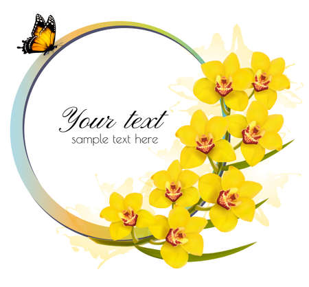 phalaenopsis: Yellow orchids banner with a butterfly. Vector.