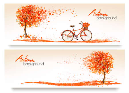 Autumn background with a tree and a bicycle. Vector Vetores