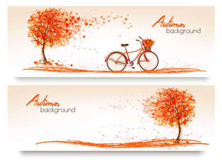 fond d'automne avec un arbre et une bicyclette. Vecteur Vecteurs