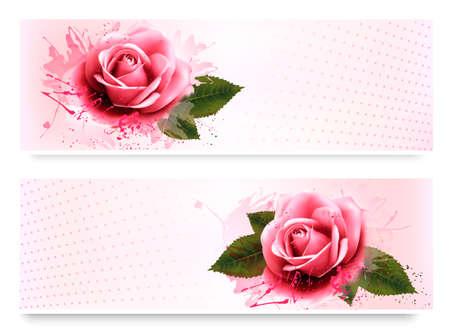 ramo de flores: banderas de vacaciones con hermosas rosas de color rosa. Vector Vectores