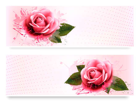flowers bouquet: Holiday banners with pink beautiful roses. Vector