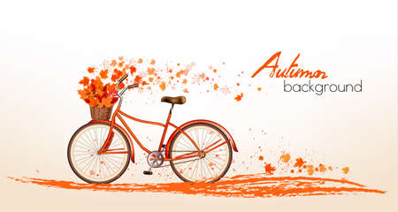 biking: Autumn background with colorful leaves and a bicycle. Vector
