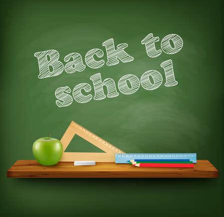 marco madera: Volver a la escuela de fondo. Vector