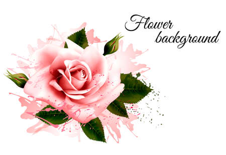 Beautiful flower background with a pink rose. Vector.