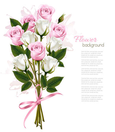 bunch of flowers: Beautiful bouquet of pink and white roses. Vector Illustration