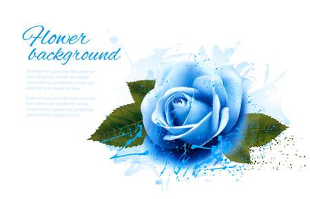 Wenskaart met blauwe roos. Vector