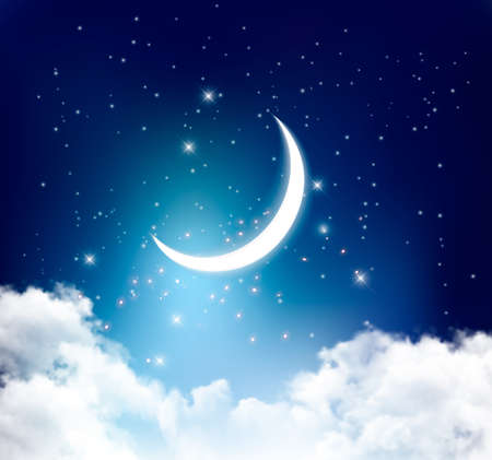 Night sky background with with crescent moon, clouds and stars. Vector