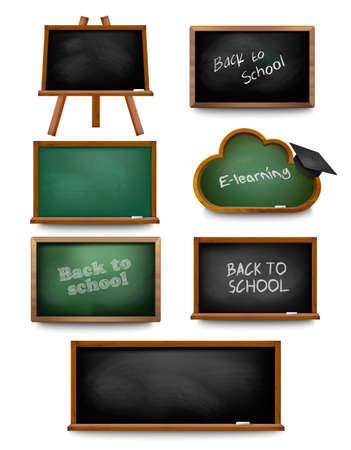 Ensemble de la commission scolaire des tableaux noirs. Retour à l'école. Vector illustration
