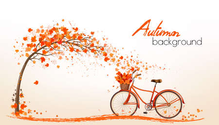november: Nature autumn background with colorful leaves and a bicycle. Vector Illustration