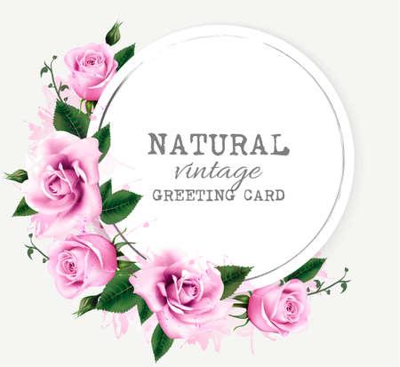 Natuur vintage wenskaart met bloemen schoonheid. Vector.
