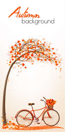 Autumn tree background with bicycle. Vector. 일러스트