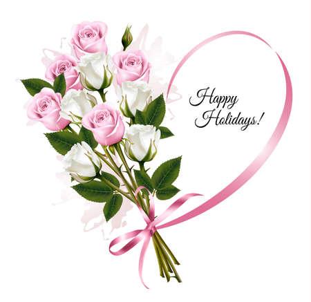 rosas blancas: tarjeta de vacaciones hermosa con rosas de color rosa y blanco. Vector.