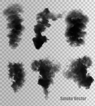 Transparent set of black smoke vectors. Illustration