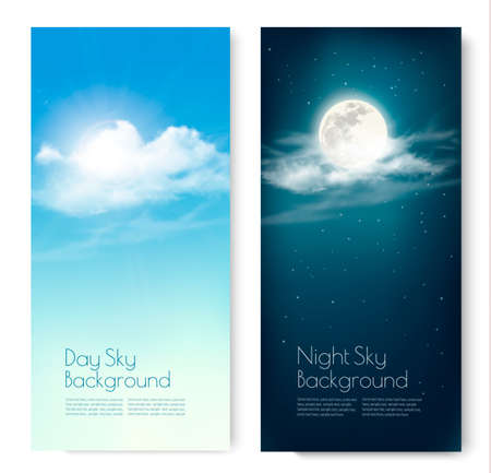 Two contrasting sky banners - Day and Night. Vector.