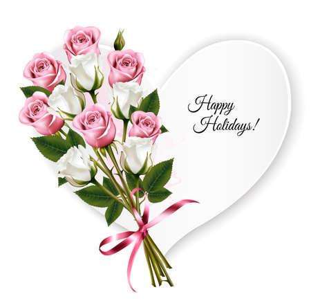 Buenas fiestas tarjeta de felicitación en forma de corazón con un ramo de rosas. Vector.