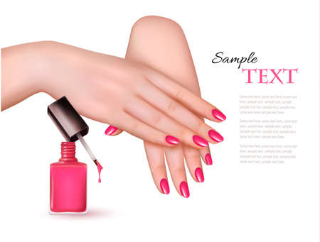 manicure pink: Manicured hands and a nail polish bottle. Vector. Illustration
