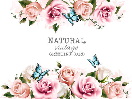 Natural background with roses. Vintage vector. Illustration