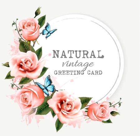 tarjeta de felicitación de cosecha natural con las rosas. Vector.