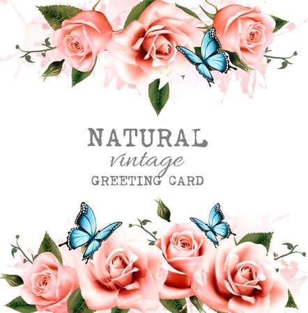 rosas naranjas: Natural de fondo con rosas. vector de la vendimia. Vectores