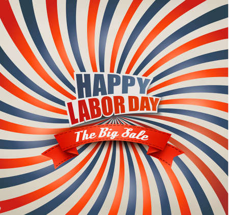Happy Labor Day Sale Retro Background. Vector. Illustration