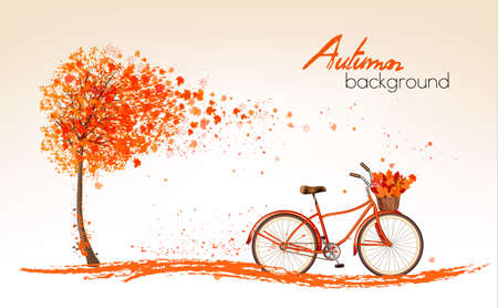 Autumn background with a tree and a bicycle. Vector. Illusztráció