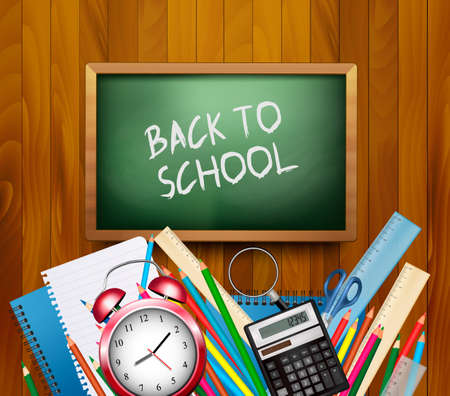 six objects: Back to school background. Vector.