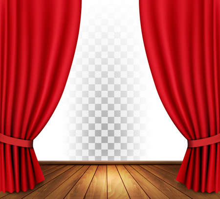 action movie: Theater curtains with a transparent background. Vector.