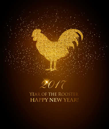 chiken: Happy New Year 2017 background. Year of the Rooster concept. Vector Illustration