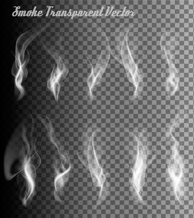 Volledig transparant set van rook vectoren. Vector Illustratie